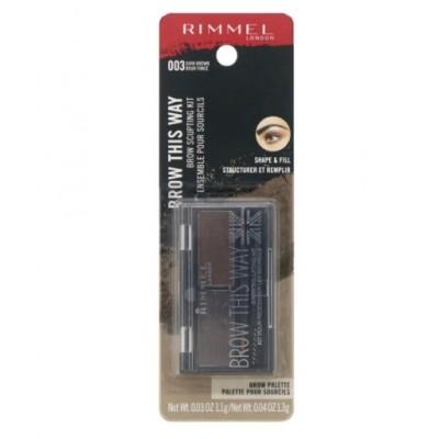 Набор для моделирования бровей Rimmel London, Brow This Way, 003 темно-коричневая палитра, 1 шт