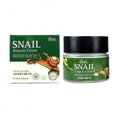Увлажняющий крем с муцином улитки EKEL  Snail Ampoule Cream, 70 ml