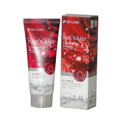 Пенка для умывания с розовой водой 3W CLINIC Rose Water FOAM CLEANSER, 100 ml
