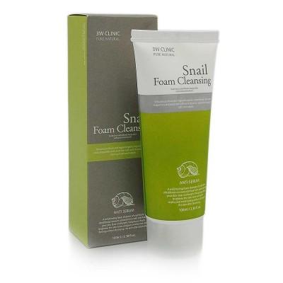 Пенка для умывания snail Foam Cleansing 3W Clinic, 100 ml