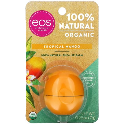 EOS, 100% органический натуральный бальзам для губ с маслом ши, тропическое манго, 7 г